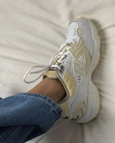 White and beige sneakers