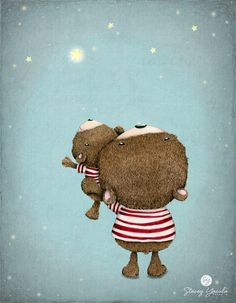 children's wall art bear brown red stripes by staceyyacula