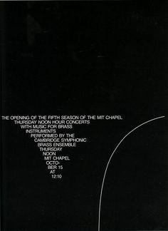 Dietmar R. Winkler, poster for MIT, 1968-1969