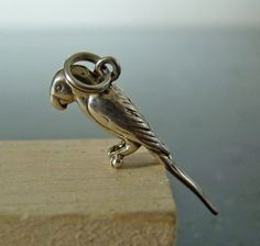 Vintage Silver Small Parrot Charm Pendant by FourSailAccessories, $15.00