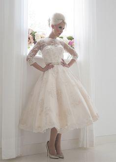 Frances - Full beaded champagne vintage tea length wedding dress with 3/4 length sleeves