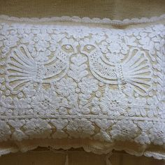Hand embroidered on hand woven vintage linen. These cushions originate from the Kalotaszeg region of Transylvania, Romania. Hungarian Embroidery, Bird Embroidery, Embroidery Patterns, Embroidered Cushions, Textiles, Fiber Art, Needlework, Hand Weaving, Stitch