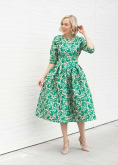 Veronica of the Lombard and Fifth Blog styles the Blissful Garden Dress by Dainty Jewell's Modest Apparel