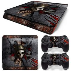 PS4 Slim Playstation 4 Console Skin Decal Sticker Skull Metal Custom Design Set #ZoomHit