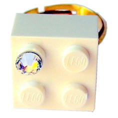 White LEGO R brick 2x2 with a Diamond color by MademoiselleAlma #MademoiselleAlma #LEGO #ETSY