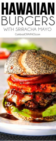 Amazingly juicy Hawaiian Burgers BURSTING with flavor, smothered in Havarti cheese, more Hawaiian Sauce and topped with caramelized pineapple. This might be the best burger. Best Burger Recipe, Burger Recipes, Grilling Recipes, Cooking Recipes, Grilling Ideas, Kabob Recipes, Recipies, Pork Rib Recipes, Grilled Steak Recipes