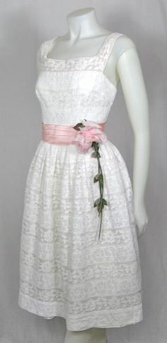 vintage 50's lace tea length wedding dress $375