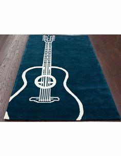 Large Guitar Rug In Teal
