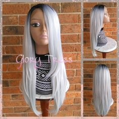 On Long & Straight Ombre Lace Front Wig Ombre Platinum silver/gray Wig... ($110) ❤ liked on Polyvore featuring beauty products, haircare, hair styling tools, bath & beauty, grey, hair care, wigs, flat iron, styling iron and paddle brush