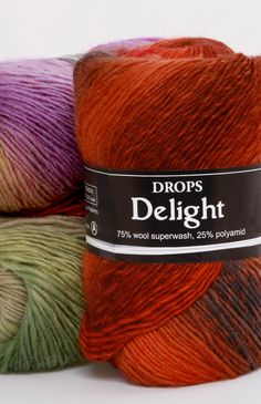 Delight~ DROPS Design --single ply 75/25 wool/polyamide 191yds long repeat color transitions