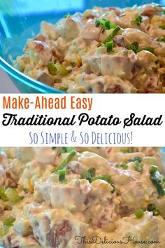 This easy Traditional Potato Salad recipe is the best classic make ahead recipe with all the traditional flavors of potato salad. This is the all American potato salad perfect for barbecues, parties, brunches, BBQs, and get togethers. Easy Brunch Recipes, Easy Holiday Recipes, Easy Salad Recipes, Easy Salads, Side Recipes, Thanksgiving Recipes, Dinner Recipes, Healthy Recipes, Barbecue Recipes