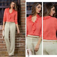 Ref. 454710  Blusa en lino,  crochet &  organza  Color: Mandarina  Tallas: S-M-L-XL-XXL  $119.990  Ref. 5311  Pantalón en ...
