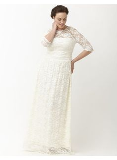 Plus Size Lace illusion vintage style wedding gown by Kiyonna Lane Bryant WomensAT vintagedancer.com