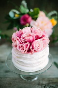 This little rose-topped cake is so sweet.                                                                                                                                                                                 More