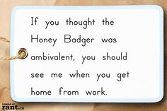 If you thought the Honey Badger was ambivalent, you should see me when you get home from work. | A rant by RufustheRantCat on Rant.in