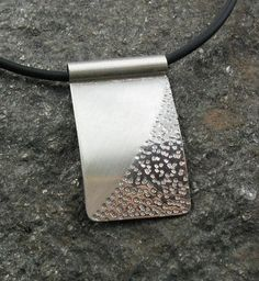 Zen Silver Textured Rectangular Pendant on Rubber Cord