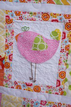 Applique birds baby quilt