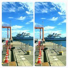 渡船日和  Good day for island hopping  #ship #sea #sky #cloud #3d #stereogram #crosseyed #port #munakata #fukuoka #japan #iphone4s  Photo by angora_onion