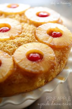 Pineapple Upside Down Cake from chef-in-training.com …The flavors of this recipe are incredible! Caramel goodness in every bite!