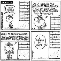 Sally warning the school building! Snoopy Cartoon, Snoopy Comics, Peanuts Cartoon, Peanuts Snoopy, Cartoon Pics, Peanuts Comics, Charlie Brown Comics, Charlie Brown Characters, Peanuts Characters