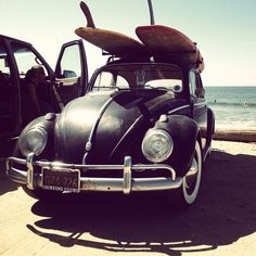 vintage vw bug with surfboards photography  | vw bug | Tumblr