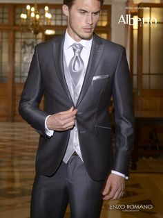 2015 dark grey mens wedding suits tuxedos peaked Lapel formal mens suits two button groomsmen suits three piece SuitJacket Pants vest tie