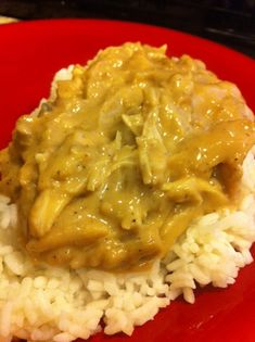 Crockpot chicken with gravy....with brown gravy packet and cream of chicken soup.