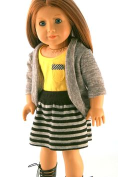 American Girl Doll Clothes - Yellow Tank with Pocket, Sweater Cardigan, and Striped Knit Skirt perfect for school mufti day or not