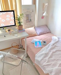 Cute Bedroom Ideas, Cute Room Decor, Room Ideas Bedroom, Small Room Bedroom, Bedroom Decor, Bedroom Inspo, Study Room Decor, Aesthetic Room Decor, Minimalist Room
