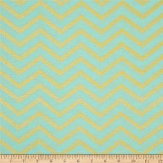 Michael Miller Glitz Metallic Sleek Chevron Pearlized Mist from @fabricdotcom  From Michael Miller, this cotton print is perfect for quilting, apparel and home decor accents.  Colors include mint green and metallic gold.