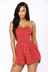 Available In White And Red Sleeveless Romper Sweet Heart Front Polka Dot Detail Self: 100% Polyester Lining: 100% Polyester