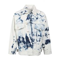 Faith Connexion Tie Dye Denim Jacket in Blue | Hervia.com ($925) ❤ liked on Polyvore featuring outerwear, jackets, tie dye jacket, faith connexion, blue jackets, denim jackets and jean jacket