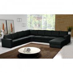Grand canapé d'angle OARA panoramique 9 places en U tissu noir