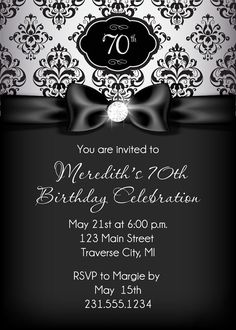 Blackwhitepartyinvitationprintable21301byidconsultdesign diamond birthday invitation adult birthday party invitation black and silver damask filmwisefo