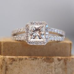 Halo Princess Cut Engagement Ring Split Shank Band In 10K White Gold Over #br925silverczjewelry #SplitShankRing #WeddingEngagementAnniversaryBirthdayParty