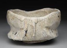 Artist: Jeff Shapiro, Title: Tea Bowl, White w/crackle - click on image to enlarge