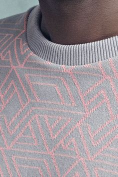 Soft-touch knit with all over jacquard Round neckAbove - elbow sleeves Ribbed cuffs and hemRegular fit Cotton Cotton Sweater, Men Sweater, Jumper, Knit Fashion, Mens Fashion, Knit World, Casual Wear For Men, Calvin Klein Men, Jacquard Weave