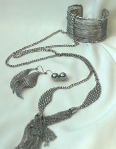 Get the Look! Necklace and Stud Earring Set -13415 Chain-link Earrings -1293E Twisted Metal Cuff -7937B