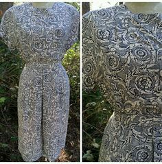 Silk Jacquard Dress Size Medium Midi Outfit Blouse Vintage 80s Slouch Skirt