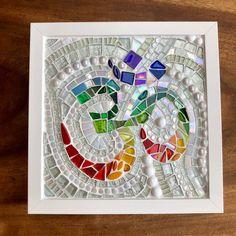 Framed rainbow glass Ohm mosaic | Etsy Mosaic Art, Mosaic Glass, Mosaics, Ikea Frames, Frames On Wall, White Serving Tray, Rainbow Fashion, Rainbow Glass, Rainbow Colors