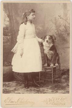 Helen Keller with her dog, circa 1888.