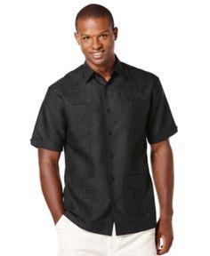 7cf09ac181 Cubavera Men s Big and Tall Embroidered Panel 4-Pocket Guayabera Shirt -  Black XLT Guayabera