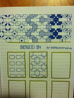 'Boxed In' A Zentangle-inspired tangle pattern instruction sheet. #tangle #pattern #Zentangle-inspired #doodles