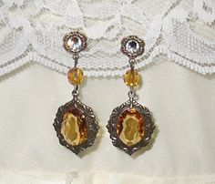 Titanic Jewelry Madeleine Astor's Glass Topaz Dinner Earrings