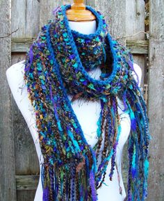 Ribbon Hand Knit Scarf Shades of Blue and Green Fringy by Fanchi, $35.00