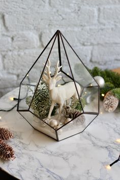 """""""Get creative and build your own Christmas decor with my DIY set. Fill your home with beautiful plants, freshen up your room or even your office desk. Any idea goes. My DIY sets are a thoughtful gift for any plant lover or simply a creative person. And building a florarium with your kids will teach them caring for others and develop their hand motorics. Our sets contain a wide range of materials allowing for creating your own terrarium using the manual or even improvising without it. Each materi Merry Christmas To All, All Things Christmas, Winter Christmas, Christmas Deer, Modern Christmas, Diy Christmas Decorations For Home, Christmas Crafts, Holiday Decor, Terrarium"""