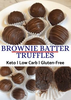 Tasty Low Carb Paleo Vegan Brownie Truffles Recipes For Keto Diet Tasty Low Carb Paleo Vegan Brownie Truffles that taste like fudge! A gooey, fudgy brownie center covered in sugar-free and keto-friendly chocolate! Brownie Truffles Recipe, No Bake Truffles, Vegan Brownie, Brownie Desserts, Keto Desserts, Chocolate Desserts, Dessert Blog, Paleo Dessert, Sugar Free Truffle Recipe