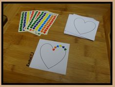 """Hand-eye coordination and fine motor skills with heart stickers from Rachel ("""",)"""