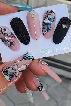 Cute Acrylic Nails, Gel Nail Art, Gel Nails, Animal Nail Designs, Nail Art Designs Videos, Romantic Nails, Butterfly Nail Art, Leopard Nails, Beautiful Nail Designs
