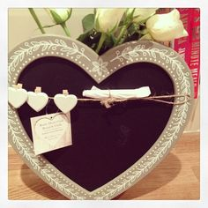 Rustic Heart Chalk Board Pretty floral design around the frame and twine across the top with 3 little white heart pegs for hanging memo s Piece of White Chalk, Perfect For Me, Blackboards, Little White, Twine, Chalkboard, Floral Design, Rustic, Heart